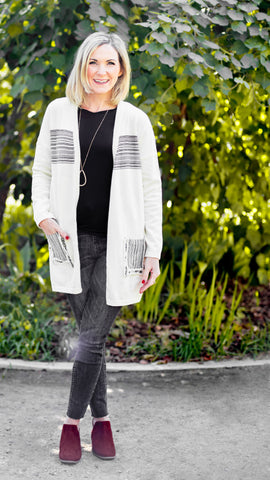 Black Striped Patch Pocket Cardigan