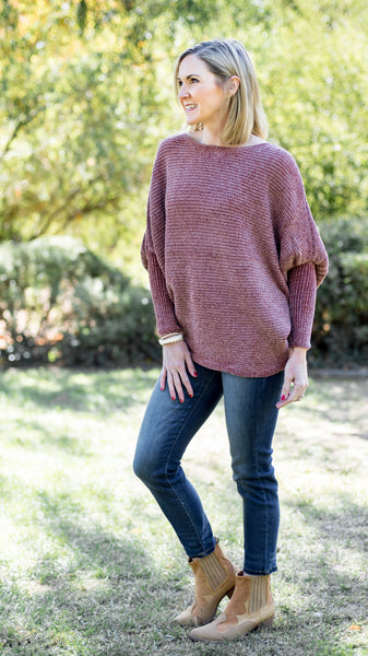 Chenille Batwing Sweater Top in Deep Rust