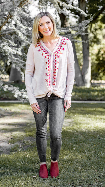 Scattered Flowers Embroidered Top in Oatmeal