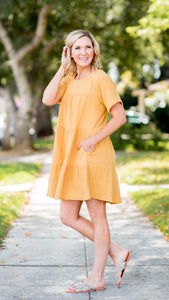The Sunflower Tiered Shirt Dress