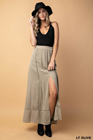 Picking Olives Front Slit Long Skirt