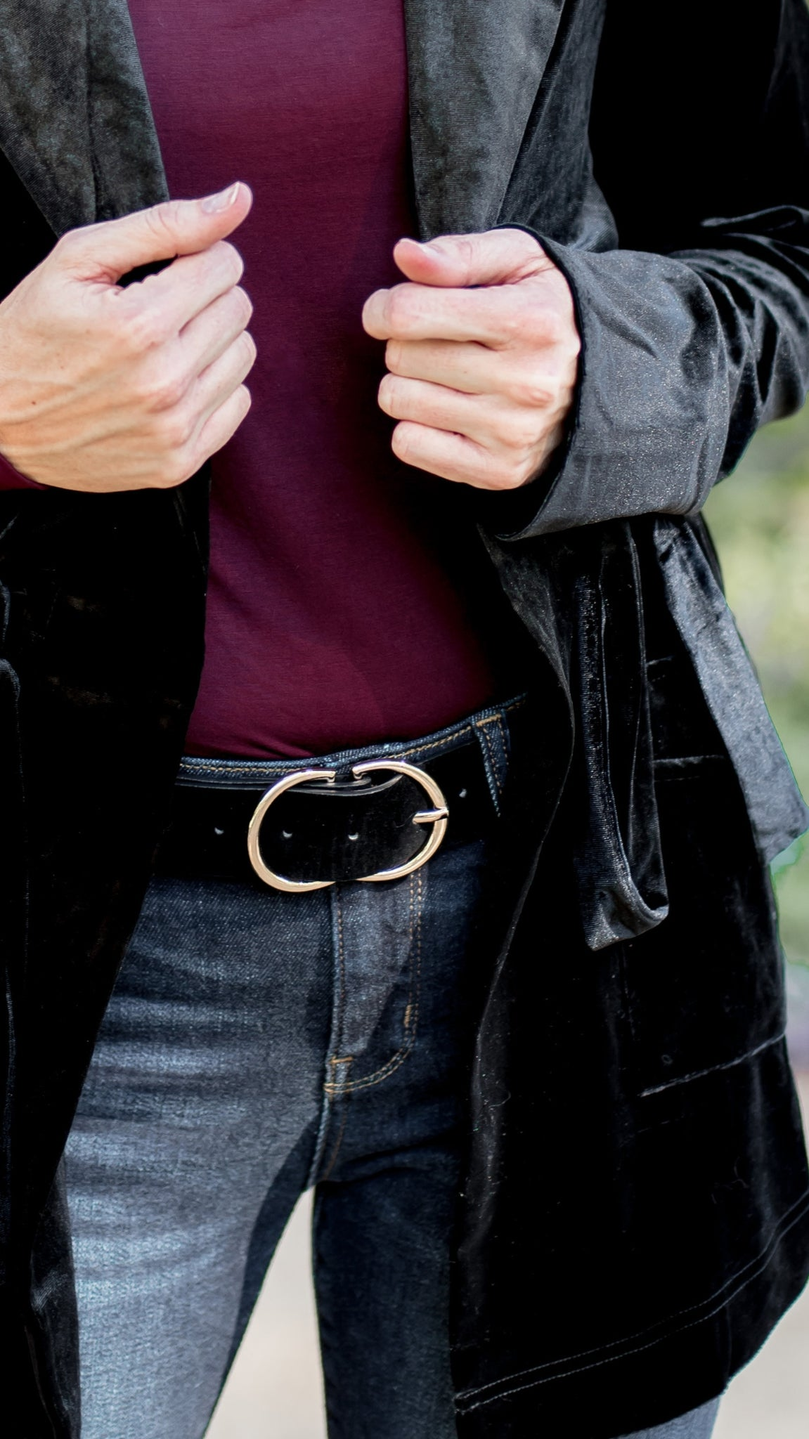 Double Half Circle Faux Suede Black Belt