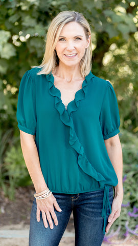 Wrap Ruffle Elastic Band Top in Teal