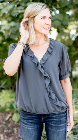 Wrap Ruffle Elastic Band Top in Charcoal