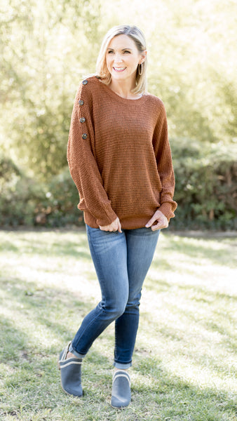 Shoulder Button Dolman Sleeve Sweater - 3 Colors!