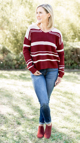 Braided Back Striped Sweater- 2 Colors!