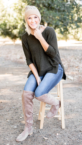 Amy's Favorite V Neck Pullover Sweater in Olive