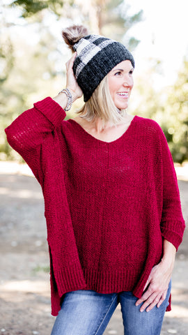 Amy's Favorite V Neck Pullover Sweater in Wine