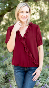 Wrap Ruffle Elastic Band Top in Wine