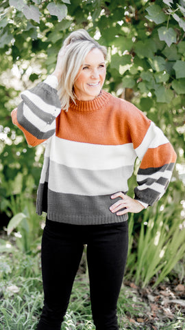 On Trend Momma Striped Bishop Sleeve Sweater