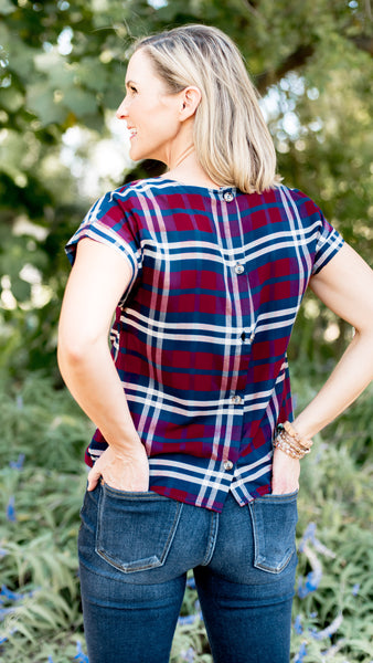 Present Ready Plaid Tie Front Top- Burgundy