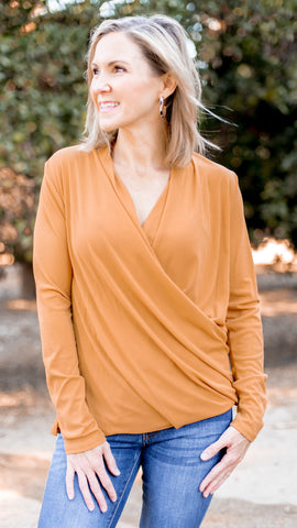 The Lettie Long Sleeve Wrap Top- 2 Colors!