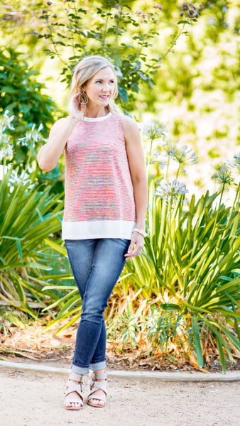 Rust Micro Stripe Border Tank