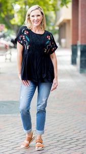 Island Peninsula Embroidered Peplum Top