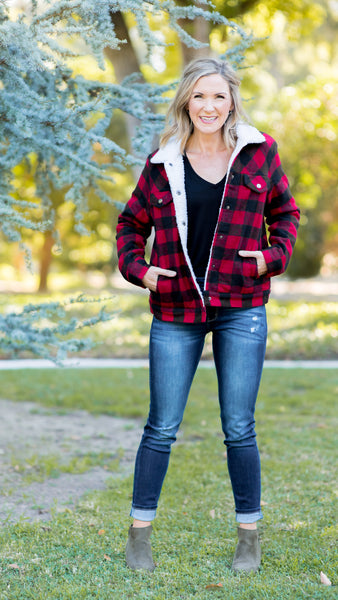 Red Buffalo Plaid Sherpa Lined Jacket