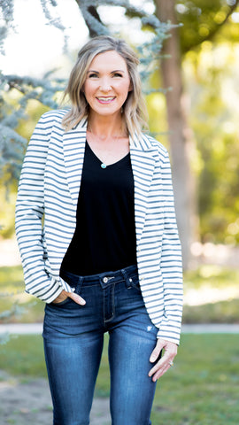 Casual Striped Knit Blazer