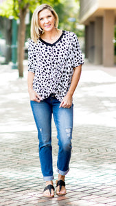 Dalmatian Dot twist front Knit Tee