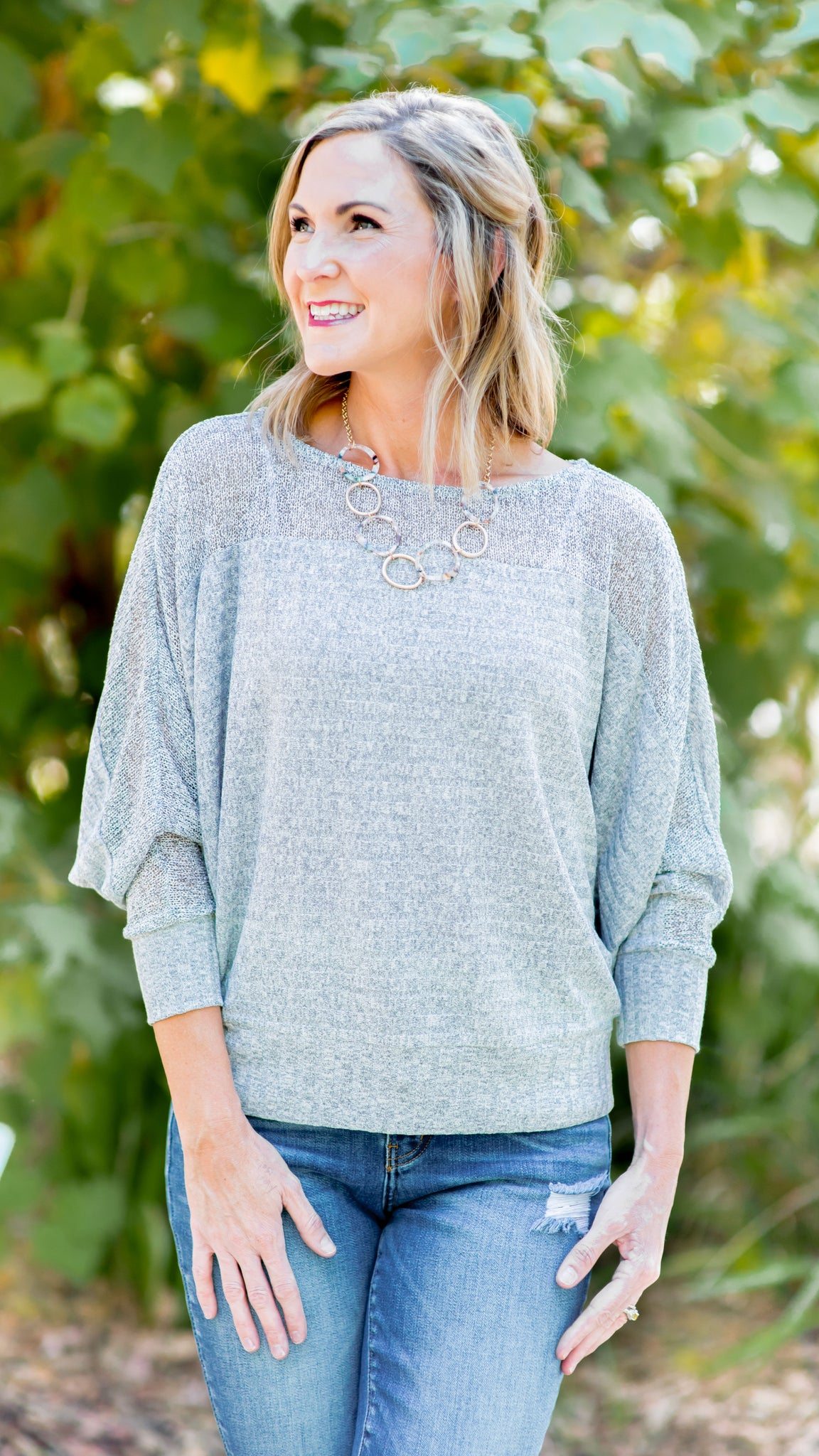 Now You See Me Knit Dolman Sweater Top