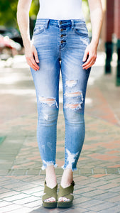 The Torrie Light Wash Distressed Skinny Jean