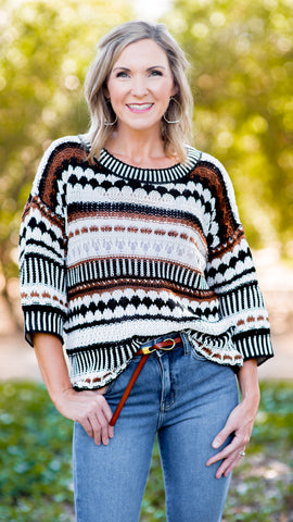 Rustic Stripes Oversized Knit Sweater