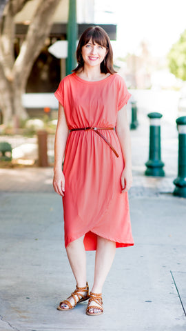 Simply Wrapped Hem Midi Knit Dress- Coral