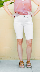 White Stretch Denim Bermuda Short