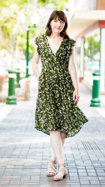 Sunday Morning Ditsy Floral Button Down Dress