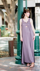 Mesh Lace Open Back Maxi- Dusty Purple