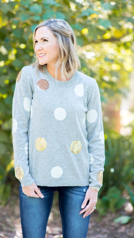 Party Circle Gold Sequin Knit Sweater