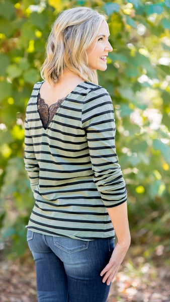 Lace Long Sleeve V-Neck Tee- Olive Stripe