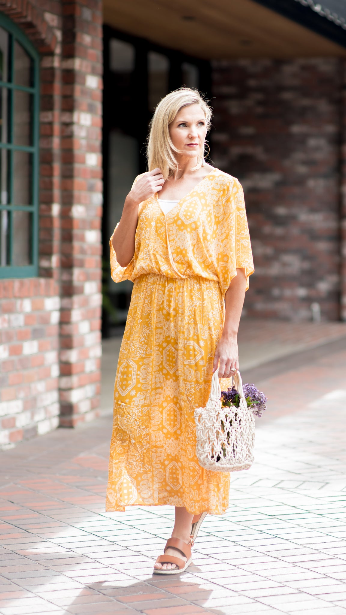 Dolman Paisley Yellow Dress