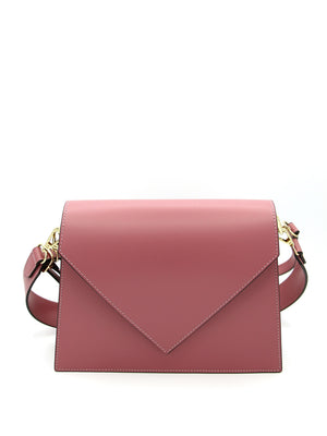 Double shoulder bag with triangular flap - PINK
