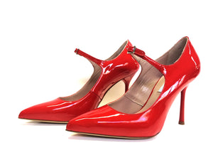 Designer Leather Heels Pump Red