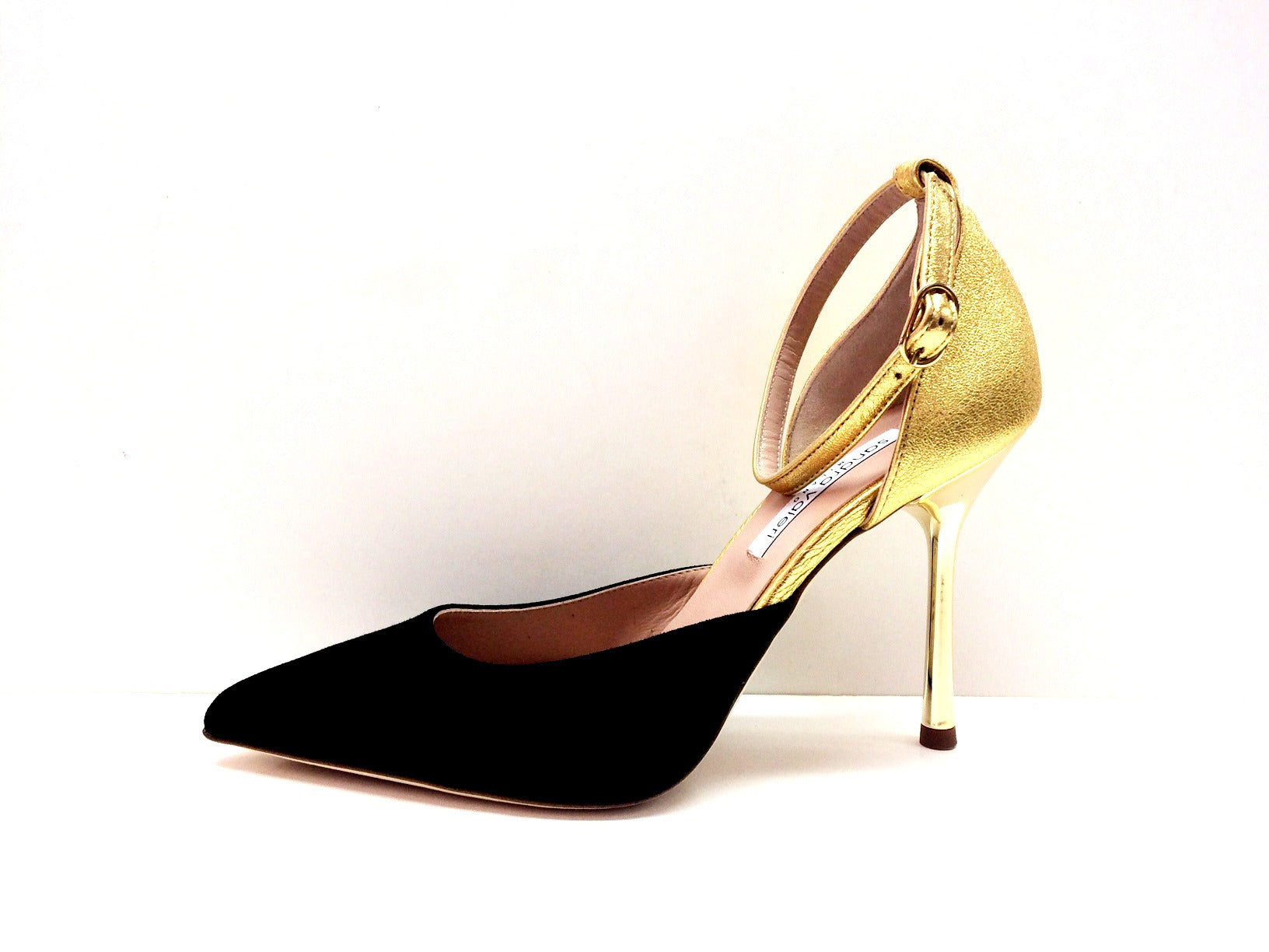 Designer Leather Heels Pump Gold Black