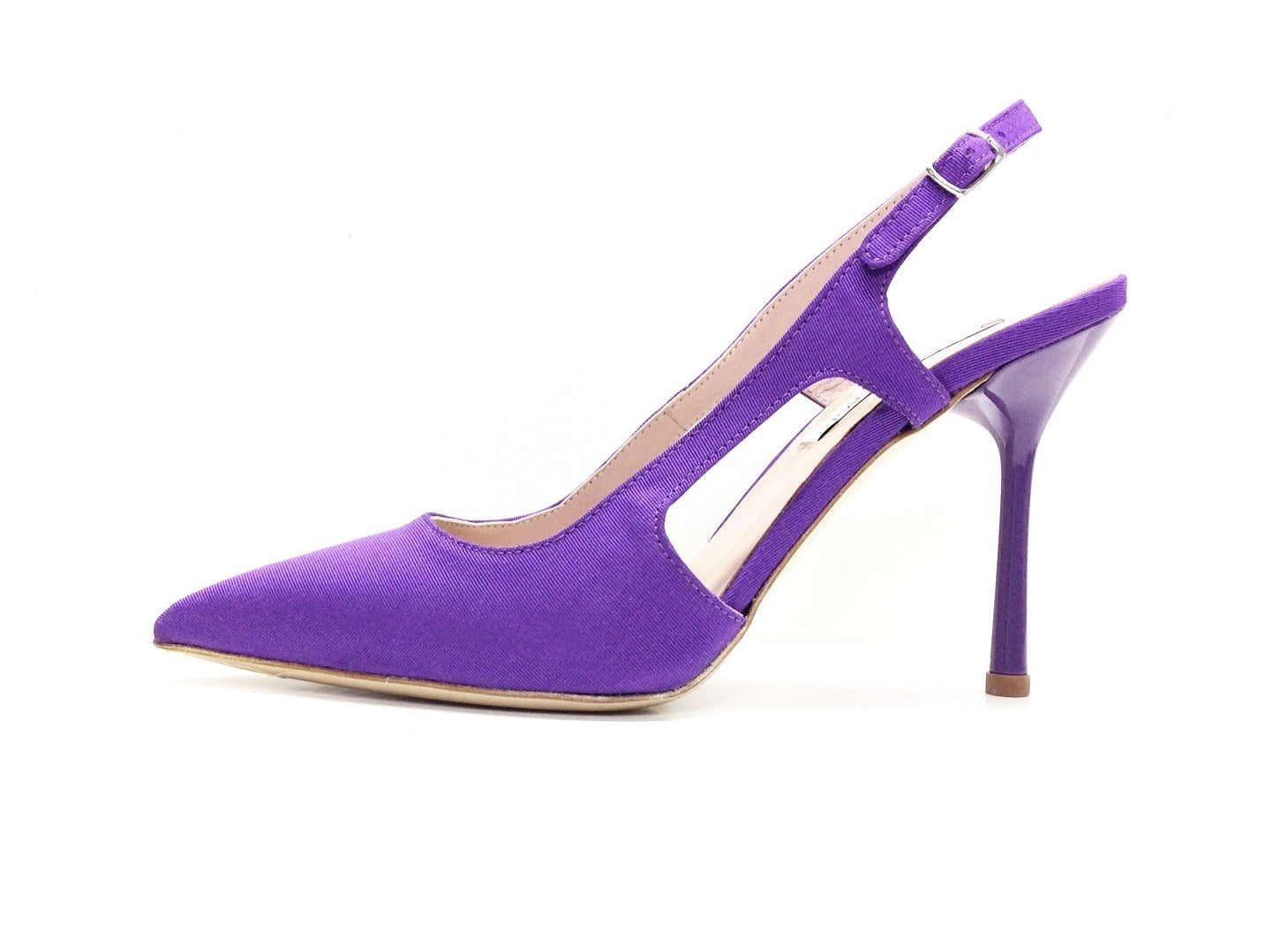Designer Leather Heels Pump Violet