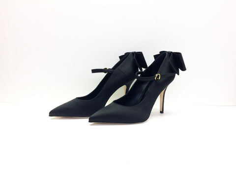 Designer Leather Heels Pump Black