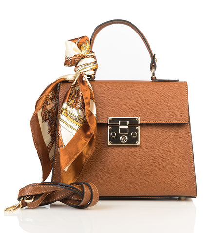 Leather bag with scarf