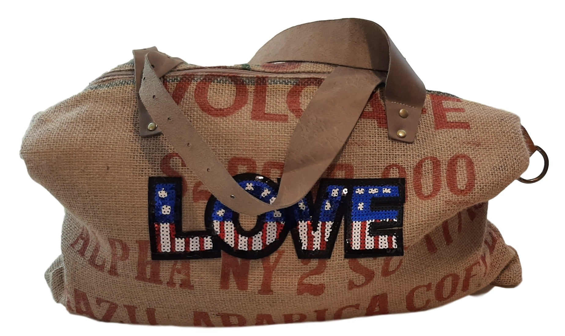 LEATHER BAG  JUTE BAG WITH LEATHER HANDLES AND PAILLETTES DECORATION