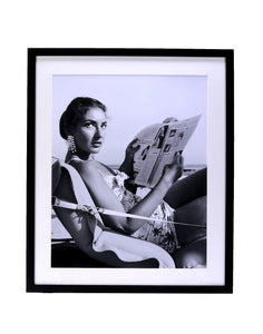 Maria Callas Reading On The Beach Photography