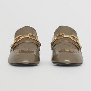 Burberry Link Detail Patent Leather Block-Heel Loafers Women Shoes Brown