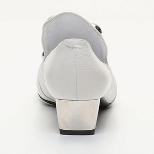 Burberry Link Detail Patent Leather Round Toe - Women Shoes White.