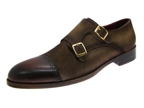 DOUBLE MONKSTRAP CAPTOE DRESS SHOES - BROWN / BEIGE SUEDE UPPER AND LEATHER SOLE