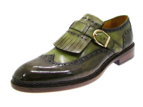 WINGTIP MONKSTRAP BROGUES GREEN HAND-PAINTED LEATHER UPPER WITH DOUBLE LEATHER SOLE