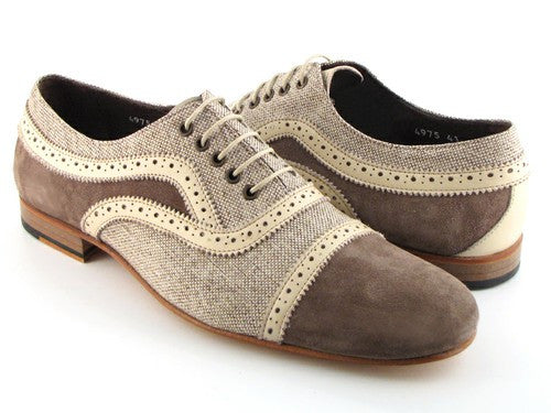 OXFORD SHOES FOR MEN BEIGE LINEN & BEIGE SUEDE UPPER WITH NATURAL LEATHER SOLE