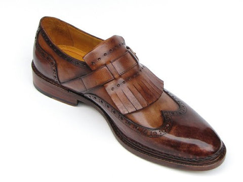 WINGTIP MONKSTRAP BROGUES BROWN HAND-PAINTED LEATHER UPPER WITH DOUBLE LEATHER SOLE