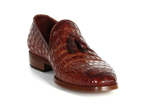 REDDISH CAMEL CROCODILE EMBOSSED CALFSKIN TASSEL LOAFER