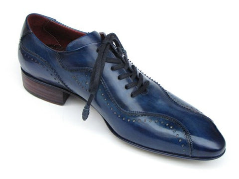 HANDMADE LACE-UP CASUAL SHOES FOR MEN BLUE Paul Parkman