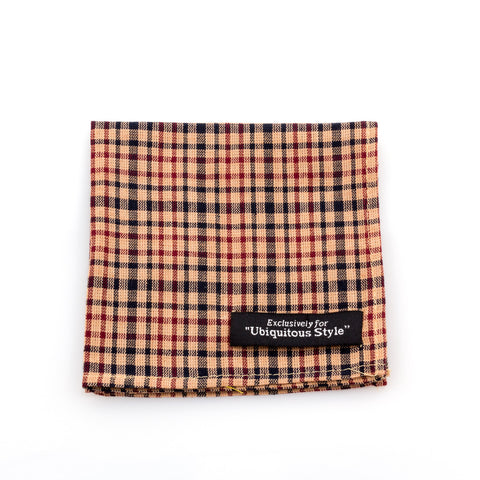 Glen Plaid Pocket Square Beige / Burgundy / Beige / Black