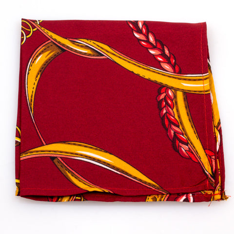Burgundy Polo Saddle Silk Pocket Square