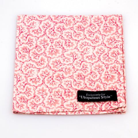 Pink and White Vine Pocket Square